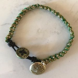 Fossil Green Gold Tree is Life Bracelet Button